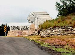 Roman Nose State Park is located southeast of Canton, Oklahoma